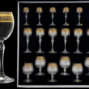 """Набор 18 предметный стеклянный ,""""Орнамент золотой"""""""