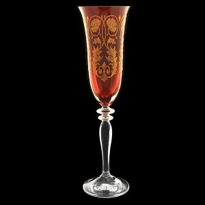 """Бокал для шампанского """"Рубин с золотыми вензелями"""""""