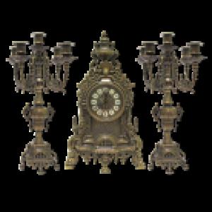 Каминные часы и 2 канделябра