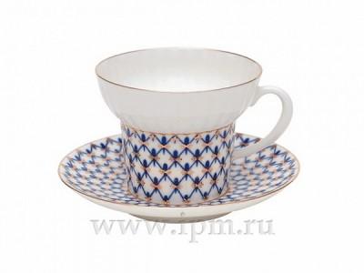 Чашка с блюдцем чайная Волна Кобальтовая сетка 155 мл ИФЗ