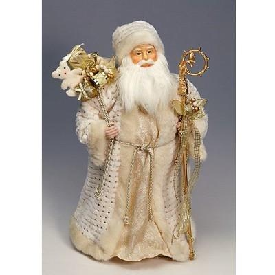 Дед Мороз бело-золотой с мешком игрушек 60см