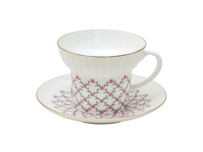 Чашка с блюдцем чайная Волна Розовая сетка 155 мл ИФЗ