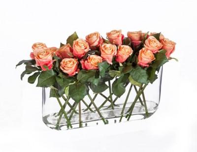Композиция из Роз искусственных розово-персиковых.