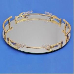 Зеркальный круглый поднос с бутонами