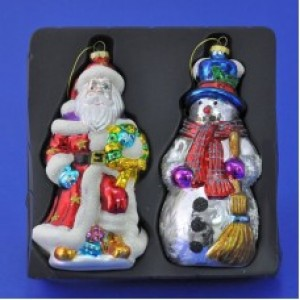 "Набор из 2-х елочных украшений ""Дед Мороз со снеговиком"""
