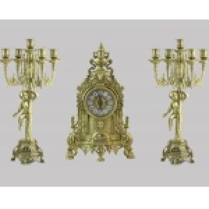 Часы каминные с 2 подсвечниками