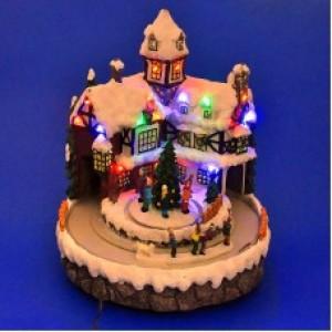 """""""Новогодний домик с детьми"""" со светодиодами"""