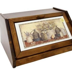 Деревянная хлебница с керамическими вставками