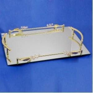 Поднос прямоугольный зеркальный с бутонами 48*32*5см.