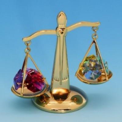 Весы с 6 цветными хрусталиками, позолоченные