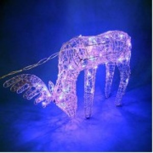 Олень серебряный, голубая подсветка, 50 лампочек