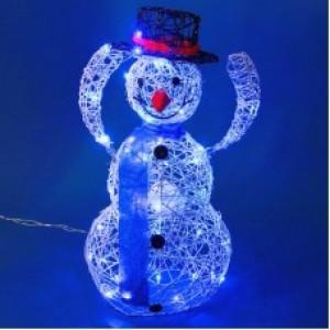 Снеговик белый, снимающий шляпу, голубая подсветка 45*26*78