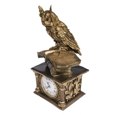 """Каминные часы под бронзу """"Сова на книгах"""""""