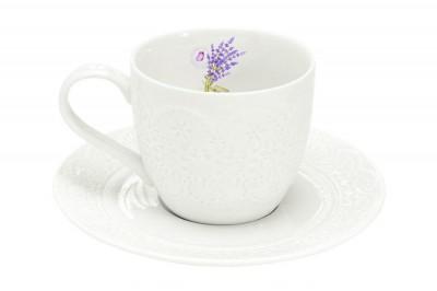 Чашка с блюдцем Кружева Лаванда Easy Life (R2S)