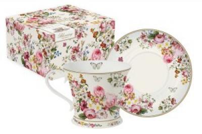 Чашка с блюдцем Цветочный карнавал