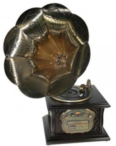 """Музыкальный центр-ретро """"Граммофон"""" с пультом: винил, AM/FM, CD, MP3, USB 35*40*85см3, USB 35*40*85см"""