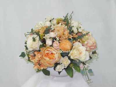 Композиция декоративная из иск. цветов  мини Персиковая
