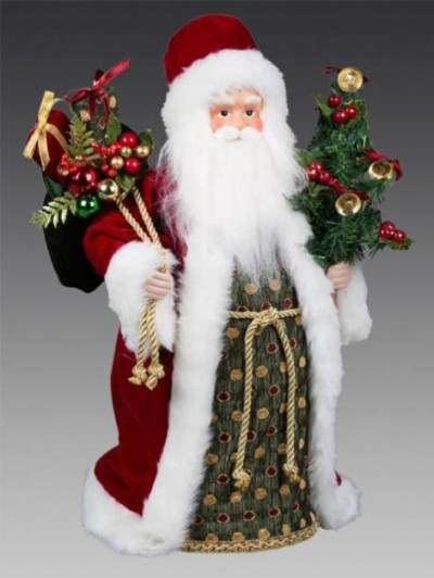 Дед Мороз в бордовой шубе с еловой веткой