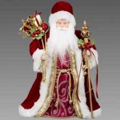 Дед Мороз в бордовой шубе с посохом и мешком подарков, 45 см