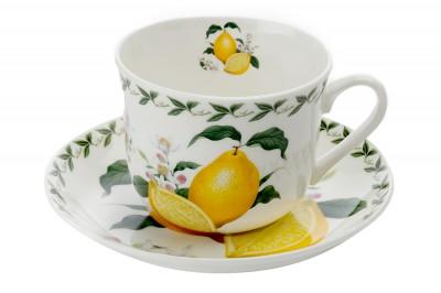 """Чашка с блюдцем  """"Лимон"""" в подарочной упаковке 0,48л"""