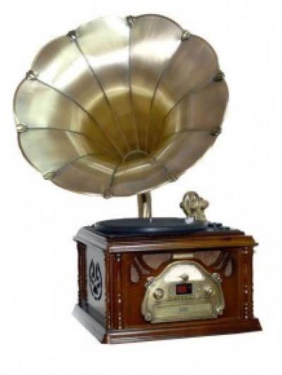"""Музыкальный центр-ретро """"Граммофон"""". Функции: винил, AM/FM, CD, USB, аудио"""