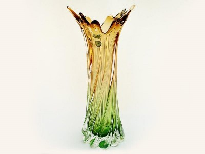Ваза 40см прозр+зелен+коричневая