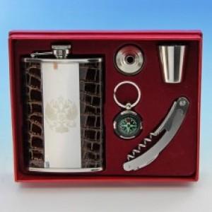 Набор из 5, нержав. сталь/иск.кож: Фляжка 270мл, стопка 25мл, воронка, компас, складн. нож