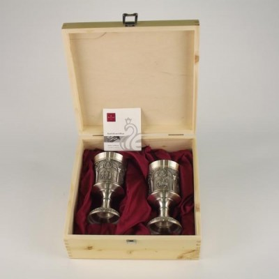 Набор из 2-х бокалов для вина высота 13,5 см Коробка из дерева