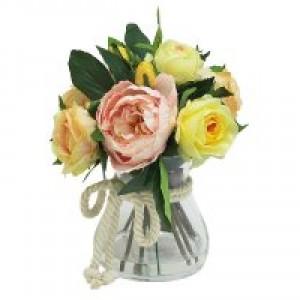 Декоративные цветы Розы жёлтые и розовые в стекл вазе