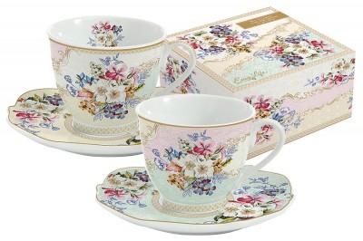 """Набор: 2 чашки + 2 блюдца для кофе """"Восточный сад"""""""