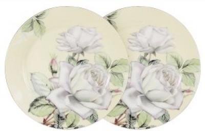 """Набор из 2-х десертных тарелок """"Белые розы"""""""