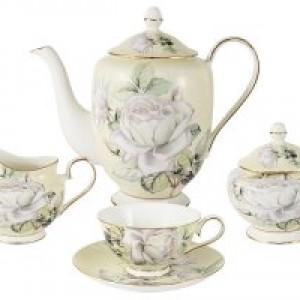 Чайный сервиз из 15 предметов на 6 персон Белые розы