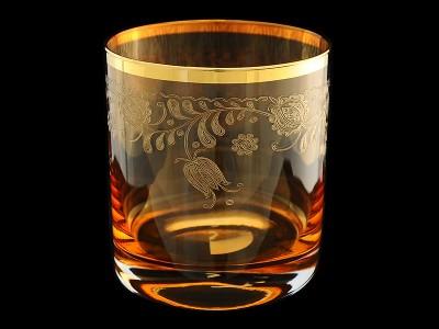 "Стакан для виски ""Амбер с золотыми колокольчиками"""
