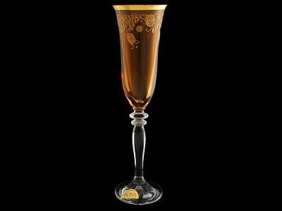 """Бокал для шампанского  """"Амбер с золотыми колокольчиками"""""""