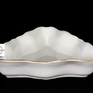 Салатник треугольный 22 см Белый узор