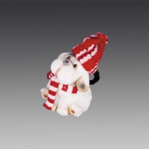 Собака керамическая в красной шапочке и красном шарфе