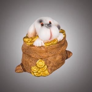 """Копилка """"Собачка"""" в мешке с монетами"""