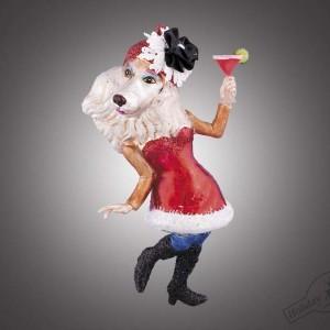 """Собака """"Леди"""" в красном платье и шляпке с бокалом (стекло) П/У, 8х15 см"""