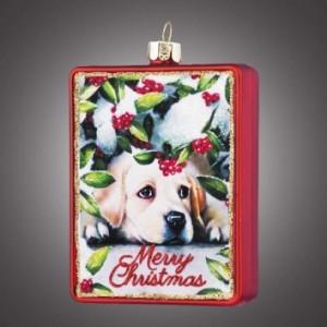 """Украшение рождественское - открытка """"Пес под кустом рябины"""""""