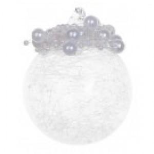 Прозрачный шар с жемчужинами с инеем внутри 6 см