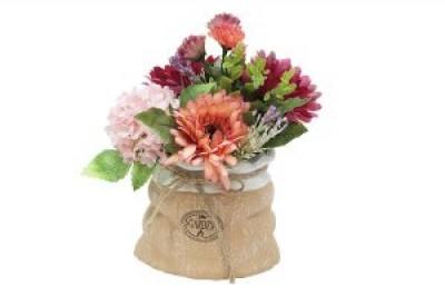 Декор.цветы Герберы и гортензии розовые в керам.вазе