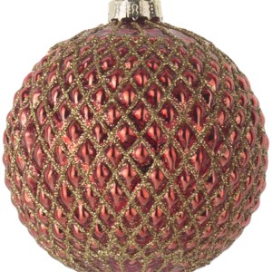 Красный шар золотые соты 8 см.