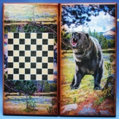 "Нарды малые ""Бурый медведь"" 40х20х4см, картина под лаком, 2 замка, дерево"