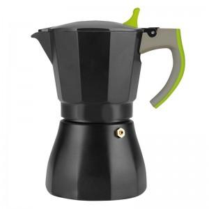 Кофеварка гейзерная на 6,9,12 чашек, алюминий, ручка зеленая .