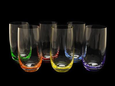 Набор стаканов для воды -разноцветное дно 6 штук