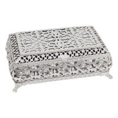 Шкатулка для ювелирных украшений с бархатом, посеребренная