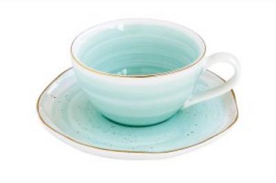 Чашка для кофе с блюдцем Artesanal (зел-голубая)