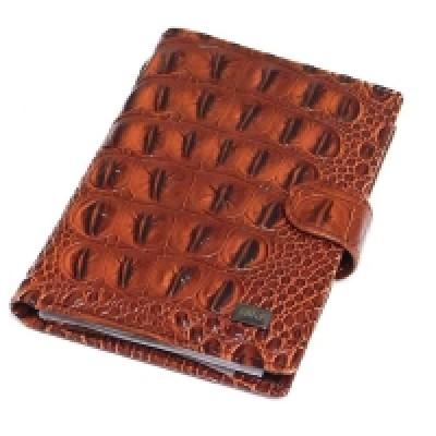 Портмоне с отделением для паспорта, натур. кожа, коричн. цвет