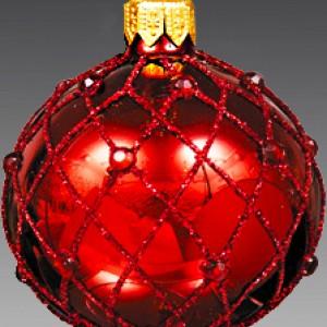 Шар бордо с искристым сетчатым узором 6см(стекло, ручная работа)