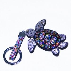 """Брелок для ключей """"Черепаха"""" , иск.кожа, стразы, 7*1,5*15 см"""